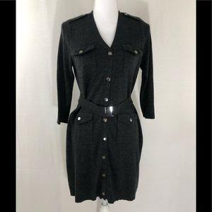 ❤️ 3/20 NY & CO Dark Gray sweater dress w belt